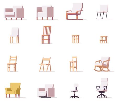 Illustration pour Vector chairs set - image libre de droit