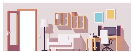 Illustration pour Vector home office interior - image libre de droit