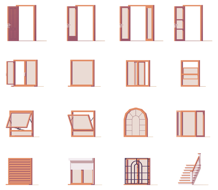 Illustration for Vector windows and doors set - Royalty Free Image