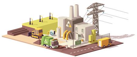 Ilustración de Vector low poly landfill gas collection plant - Imagen libre de derechos