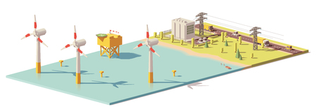 Illustration for Vector low poly wind turbines power plant - Royalty Free Image