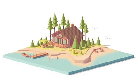 Ilustración de Vector low poly house in forest - Imagen libre de derechos