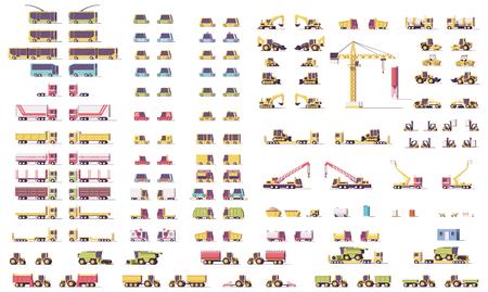 Illustration pour Vector isometric low poly transport set - image libre de droit