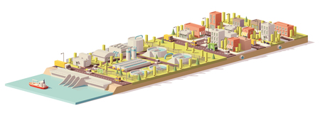 Ilustración de Vector low poly water treatment and consumption - Imagen libre de derechos