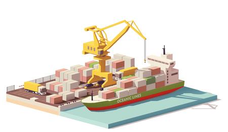 Illustration pour Vector low poly port container terminal and ship - image libre de droit