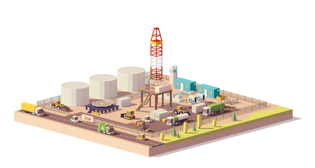 Illustration for Vector low poly land oil and gas drilling rig - Royalty Free Image
