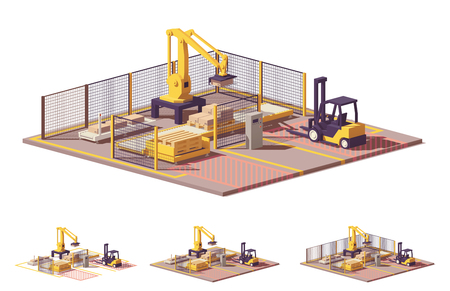 Illustrazione per Vector low poly robotic palletizing cell - Immagini Royalty Free