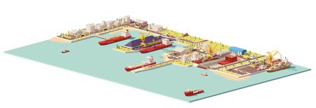 Illustration pour Low poly commercial port illustration. - image libre de droit