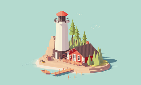 Illustration for Vector low poly lighthouse - Royalty Free Image