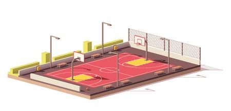 Illustration pour Vector low poly basketball court - image libre de droit