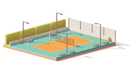 Ilustración de A Vector low poly volleyball court - Imagen libre de derechos