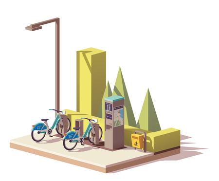 Illustration pour A Vector low poly bicycle sharing system - image libre de droit