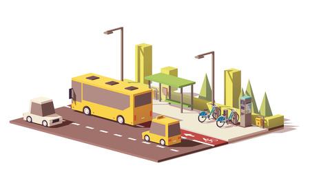 Ilustración de Vector low poly modern public transport - Imagen libre de derechos
