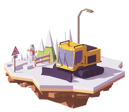 Illustration pour Vector low poly snowcat or snow groomer prepares the ski slope at the ski resort - image libre de droit