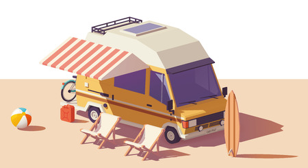 Illustration pour Vector low poly classic station RV camper van, deckchairs and surfing board - image libre de droit