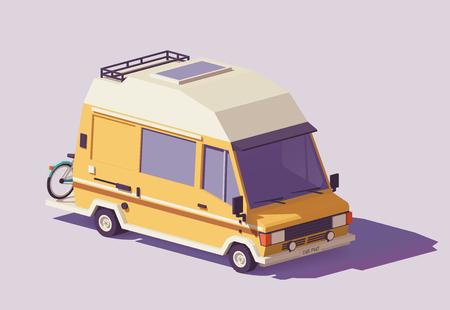 Illustration pour Vector low poly classic station RV camper van - image libre de droit