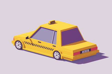 Illustration pour Vector low poly detailed classic yellow taxi car - image libre de droit