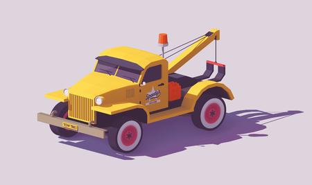 Illustration pour Vector low poly detailed classic yellow tow truck - image libre de droit