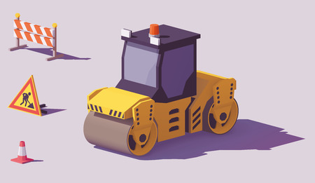Illustration pour Low poly yellow road roller or asphalt compactor with road works signs vector. - image libre de droit