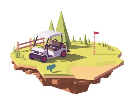 Ilustración de Low poly golf cart vector icon. - Imagen libre de derechos