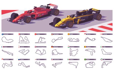 Illustration pour Vector motor racing tracks - image libre de droit