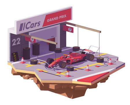 Ilustración de Vector low poly racing car and pit stop - Imagen libre de derechos