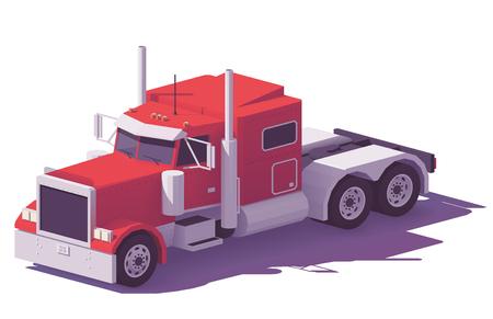 Illustration pour Vector low poly heavy american classic semi truck in red color - image libre de droit