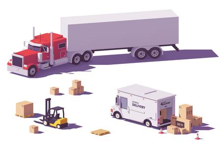 Illustration pour Vector low poly trucks and forklift - image libre de droit