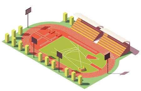 Illustration pour Vector isometric low poly athletics stadium - image libre de droit