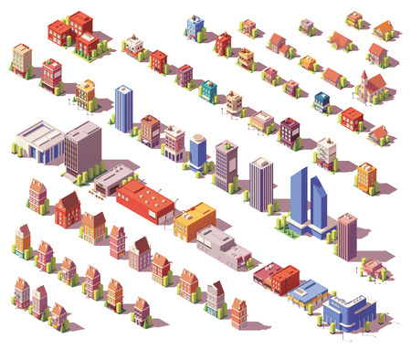 Illustration pour Vector low poly isometric buildings set - image libre de droit