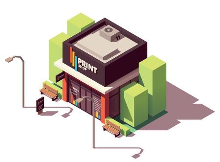 Ilustración de Vector isometric copy and print shop - Imagen libre de derechos