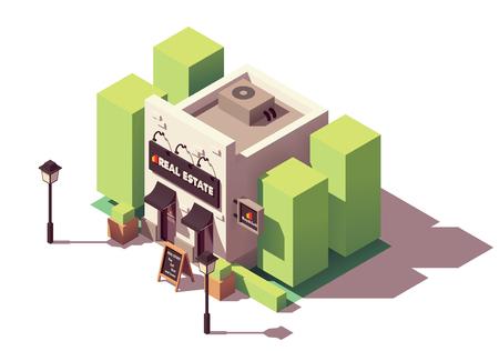 Illustration pour Vector isometric real estate agency office - image libre de droit