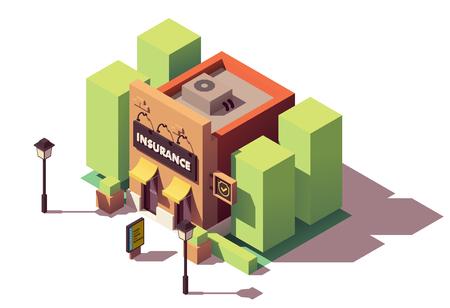 Illustration pour Vector isometric insurance agency - image libre de droit