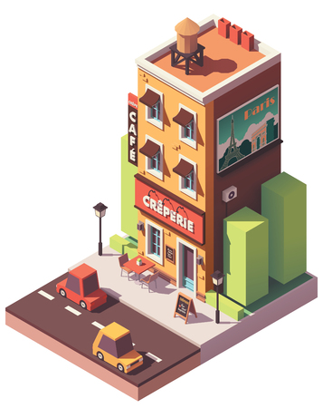Illustration pour Vector isometric creperie restaurant - image libre de droit