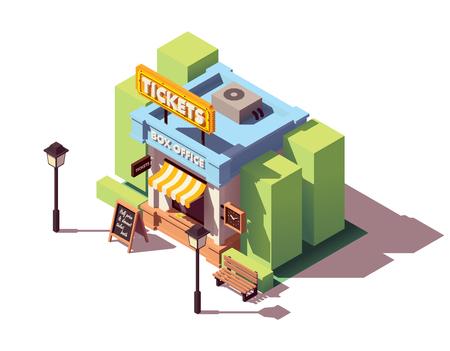 Ilustración de Vector isometric old ticket office or box office building with neon sign - Imagen libre de derechos