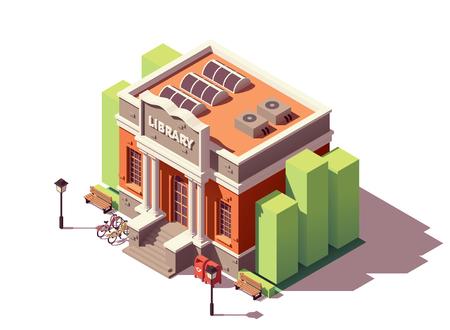 Illustration pour Vector isometric old public library brick building with columns and bicycle parking - image libre de droit