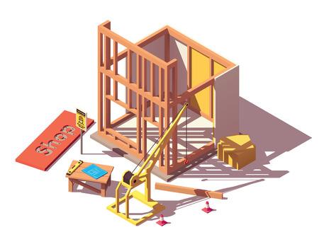 Illustration pour Vector isometric shop construction icon - image libre de droit