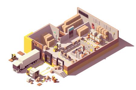 Ilustración de Vector isometric low poly warehouse building cross-section - Imagen libre de derechos
