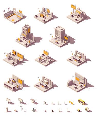 Illustration pour Vector isometric outdoor advertising icon set - image libre de droit
