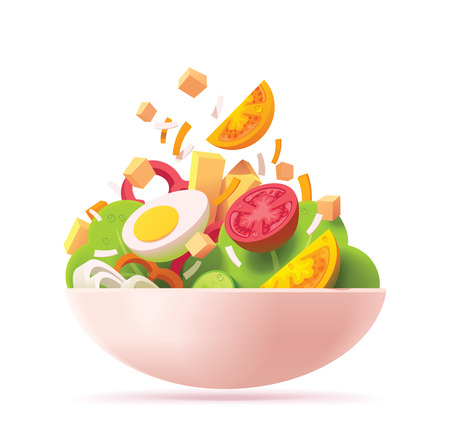 Ilustración de Vector green salad icon. Includes red and orange tomato, lettuce, cheese, egg, red bell pepper, croutons and onion - Imagen libre de derechos