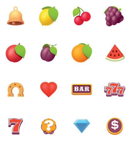 Ilustración de Vector slot machine or slots symbols and icons set. - Imagen libre de derechos