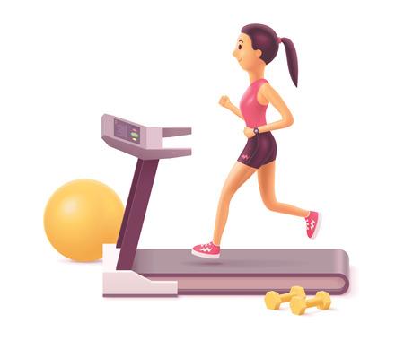Ilustración de Vector illustration of girl or young woman running on treadmill in gym or at home - Imagen libre de derechos