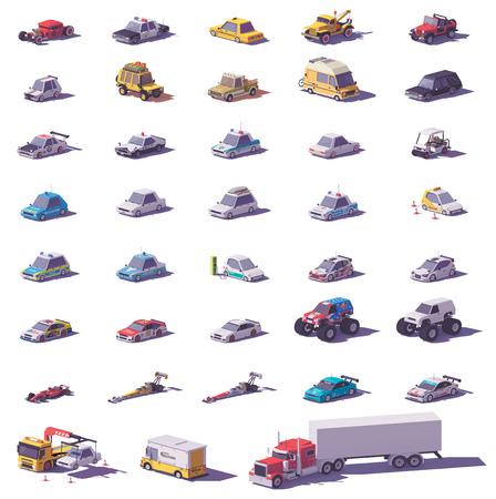 Ilustración de Vector cars and trucks collection. Includes cars, sports cars, SUV, trucks, monster truck, electric vehicle and police transport - Imagen libre de derechos