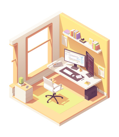 Ilustración de Programmer or software developer home office workspace. Vector isometric room cross-section with desk, desktop pc, two computer monitors, laptop, office chair, programming books on the shelve - Imagen libre de derechos