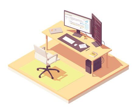 Illustration pour Coder or programmer office workspace. Vector isometric room cross-section with desk, desktop pc, two computer monitors, laptop, office chair, programming book - image libre de droit