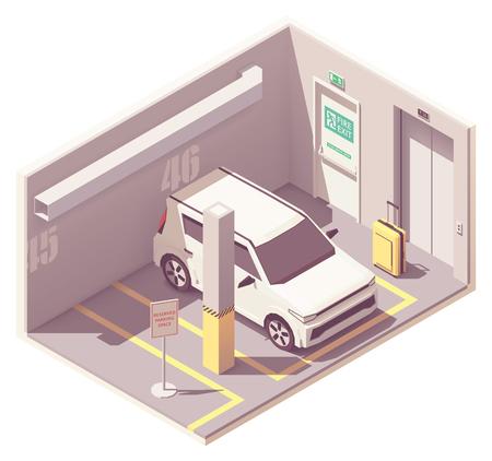 Illustration for Vector isometric car parking garage - Royalty Free Image