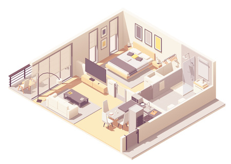 Illustration pour Vector isometric apartment hotel or aparthotel suite interior cross-section with double bed, big windows and balcony, tv, small bathroom, shower cabin and toilet - image libre de droit