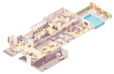 Illustration for Vector isometric hotel interior cross-section. Hotel rooms and suit, reception, fitness gym, breakfast area, kitchen, laundry room, parking garage and outdoor pool - Royalty Free Image