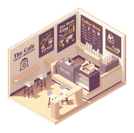 Illustration pour Vector isometric small coffeehouse - image libre de droit