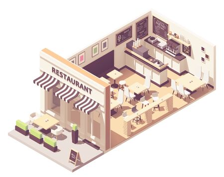 Ilustración de Vector isometric restaurant interior cross-section - Imagen libre de derechos